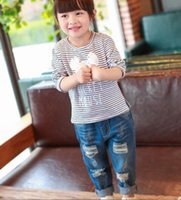 Wholesale Fashion Jeans Baby Jeans Children Clothes Kids Clothing Spring Ripped Jeans Kids Pants Boys Girls Blue Jeans Denim Trouser