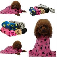 Wholesale Pet Blanket Dog Cat Mat Puppy Bed Sofa Paw Print Design Warm Blanket Mat Puppy Bed Coral Velvet Mat cm color KKA246