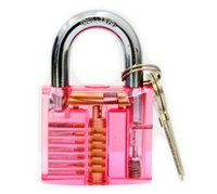 beautiful practice - Beautiful Design Modern Style Transparent pink color Visible Pick Cutaway pins Practice Padlock Lock Training Skill For Locksmith SYG