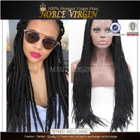 twist tie - Havana Mambo Box Braids Synthetic Lace Front Wig Black Kanekalon Heat Resistant Fiber Kinky Twist Braided Glueless Lace Wigs
