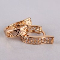 Wholesale High quality K Rose Gold Plated Hoop Earrings White Topaz Earing Unique Crystal Lady Jewellery Earring E105b