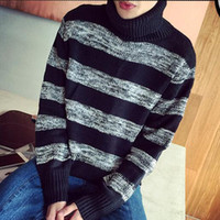 acrylic funnel - European Brand Autumn Style Men s Striped Turtleneck Pullover And Sweater New Fall Fashion Stripes Funnel Neck Jumpers Man
