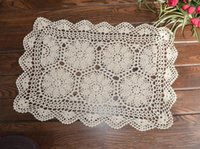 bamboo table cover - Half flower crochet pattern table cover vintage look crochet table mat pure cotton table topper handmade placemat coaster home decor