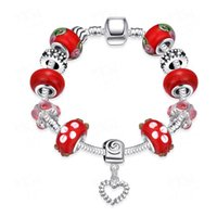Cheap 925 Silver Red Murano Glass Bead Heart Charm Bracelet Bangle For Women European Style DIY Gemstone Crystal Shamballa Jewelry