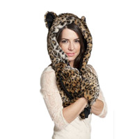 beanie with fur - Animal Cap Faux Fur One Piece Winter Hats For Women Cartoon Winter Cap Beanie With Neck Warmer Scarf Womens Hats Beanies