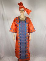 bell scarf - 2016 new african fashion design bazin embroidery design dress long dress with scarf two one set