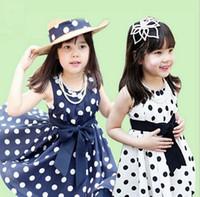 Wholesale 2016 summer new European and American children s clothing girl child dot bow sleeveless vest dress burst models