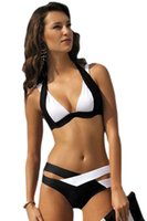 beauty s love - Love Beauty Stylish Black White Color Block halter bikini Push up Swimwear LC41249 sexy bathing suit retro biquinis Plus Size S XXXL