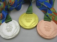 Wholesale New Rio Olympic Gold Silver Bronze Medals Ribbons Full Set With Silk RIBBONS Diameter mm Net Weight g