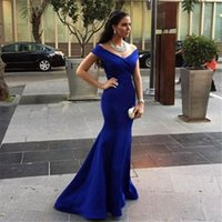 Wholesale Vestido Longo Simples Sexy V Neck Off the Shoulder Royal Blue Satin Mermaid Evening Long Dreses