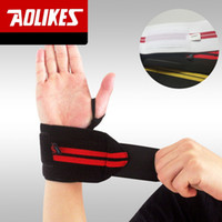 Wholesale 1Lot Pair Brand AOLIKES Weightlifting Wristband Sport Professional Training Hand Bands Wrist Support Strap Wraps Guards For Gym Fitness