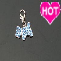 Wholesale sparkling inlay shiny rhinestone crystal dogs style pendant for dogs pet cat dog tags three color is available