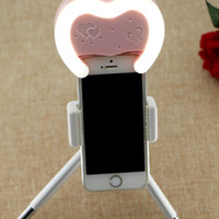 Wholesale Cute Heart Shape LED Selfie Light Pocket LED Photo Light with back mirror for iPhone s Plus Samsung Warm and Cool Lighting The Newest