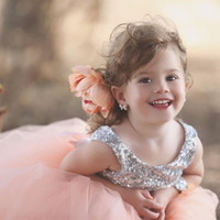 Wholesale Cute Lovely Images - Lovely Flower Girl Dresses 2016 Jewel Neck Sequins Bodice V Back Princess Flower Sash Cute Pink Pageant Mother and Daughter Dresses