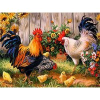 animal meetings - The cock meeting DIY Diamond Painting square Decorative embroidery mosaic picture cross stitch needlework x30cm LB