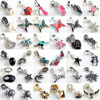 Wholesale 200pcs Fashion Big Hole Loose Beads silver plated dangle Charm For pandora DIY Jewelry Bracelet For European Mix Color