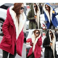 Wholesale Cheap ladies cotton hooded fur collar big thick cotton padded jacket with fluff inside warm color code