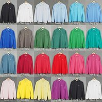 Wholesale Autumn crocodile Brand Clothing sports Polo Long Sleeve Men Casual Business Solid Polo Shirt Camisa Masculina many colors