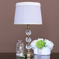 Wholesale Hot Sell Luxury Modern Crystal Table lamp Fabric Lamp Shade E27 Bulb Table light for Home Decoration