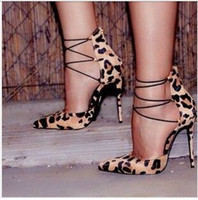 Wholesale 2015 new Fashion Leopard suede cross straps ladies pumps Shallow mouth high heel pointed toe banquet shoes