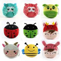 Wholesale Cartoon Animals Plush Coin Bag Lovely Owl Bee Girl Coin Purses Kids Mini Wallets Mix Deisngs YC8092
