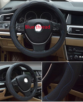 Wholesale Genuine Cowhide Leather Steering Wheel Covers Breathable Antislip High Quality Black Steering Wheel Covers For BMW Volkswagen Ford Nissan