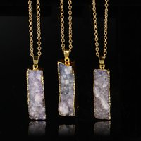 Pendant Necklaces agate slice pendants - Quartz Crystal gold plated blue agate sliced Irregular Natural stone pendants chain necklace Druzy Jewelry
