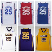 Wholesale Complete Logo name Stitched NCAA LSU Phila Ben Simmons Sports Jersey Blue White Red Men s Stitched Simmons Jersey Tops