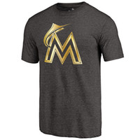 authentic apparel - New Men MLB Miami Marlins Baseball T shirts Fanatics Apparel Platinum Collection Tri Blend Banner Wave Authentic Collection Short sleeves