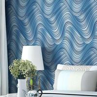 beautiful wallpaper light - Beautiful wallpaper modern minimalist bedroom TV background D stereo wave stripe non woven wallpaper