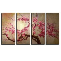 Wholesale Chinese landscape canvas wall art handmade abstract decorative pink cherry blossom oil paintings canvas flower modern wall decor