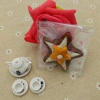 al por mayor envasado de alimentos cocinados-DHL 7 * 7 cm 3500pcs / Lot del copo de nieve rosa bowknot sello auto-adhesivo plástico PE bolsa de paquete para el Jamón postre Snack-Packaging