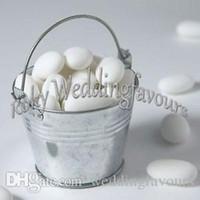 Wholesale Free Shiping Cute Mini Tin Pails Baby Shower Mini Bucket Wedding Favor Holders Mini Pails Tin Candy Box Favors Party Decor
