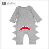 baby boy onesies lot - 2016 New Autumn Baby Cartoon Shark Rompers Infant Long Sleeve Jumpsuits Toddler Boys Girls Cotton Onesies Newborn Babies One Piece