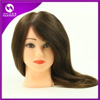 Wholesale 100 human hair training head hairdressing training doll heads plastic human hair training mannequin head
