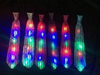 Wholesale DHL Fedex Free New Fashion Light Up LED Luminous Sequin Neck Ties Changeable Colors Necktie club party Tie Flashing Tie