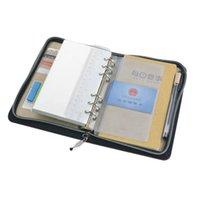 Gros-A6 Padfolio Calculatrice PU portefeuille Porte-documents de conférence en cuir Zipper design avec poches New Stationary Office Products