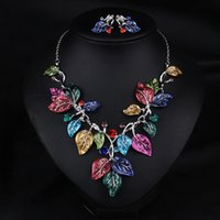 Wholesale 2016 new arrival woman wedding jewelry set colorful leaf pattern earrings and necklace sets short section chain bridge jewelry accessories