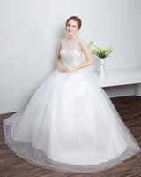 Wholesale HS632 c cheap wedding dress Organza lace Bateau lace up back palace style princess style Luxury Crystal Bridal Gowns Beads