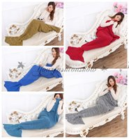 Wholesale 16 Colors Mermaid Tail Blanket Sleeping Bags Warm and Soft Blankets Handmade Crochet Knitted Bedding Wrap Sofa Blankets cm M421
