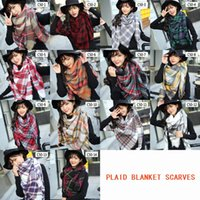Wholesale Blanks Winter Scarf Knit Oversize Tartan Scarf Plaid Scarf Plaid Acrylic Blanket Scarves Shawl DOM103391