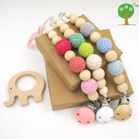 Buttons baby natural toys - 3pcs Sale Blue Pink Green Crochet Beads Baby Birth Gift Pacifier Clip Dummy Holder Natural Wooden Beads with Wooden Elephant Toy ST001