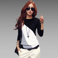 Wholesale Long Sleeve Tunic Top Wholesale - Wholesale-Blusas Femininas 2016 New Autumn Women Long Sleeve Tunic Blouses Shirts Ladies Casual Patchwork O-Neck Shirts Tops Plus Size