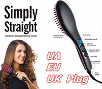 Wholesale NEW SIMPLY STRAIGHT ceramic electric degital control antiscaled hair straightener brush comb with lcd display Hot