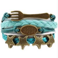 achat en gros de ancre bracelet étoile de mer-Custom-Kiss le bracelet de sirène fille Fork Starfish Charme Ancre Rudder Wrap Braided Bracelet en cuir ajustable Bracelet Drop-Drop