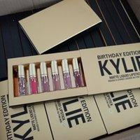 Wholesale 2016 Hot Brand Kylie Jenner Cosmetics Birthday Collection Limited Edition kylie jenner Matte Lipstick Lip Gloss Mini Leo Kits lip kit Gold