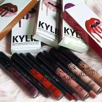 Wholesale New colors Kylie Lip Kit by Kylie jenner Lip gloss lipstick non stick cup labial line pen matte lipsticks suits
