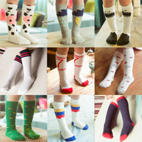 Wholesale 19 Style Fashion Unisex Cartoon Animal Leg Warmers Baby Girls Boys Knee High Totoro Panda Fox Socks Kids Cute Striped Knee Pad Sock