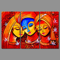 art prints india - Retro Hot red figure living room Decoration India woman amorous Canvas print Painting wall art pictures home decor unframed