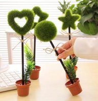 Wholesale Creative green plants potted plants pen pastoral green pots ballpoint pen gift pen new Stationery cm